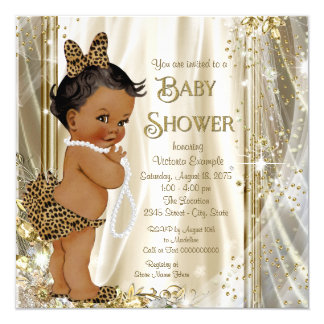 Cute Leopard Girly Ethnic Baby Girl Shower Card