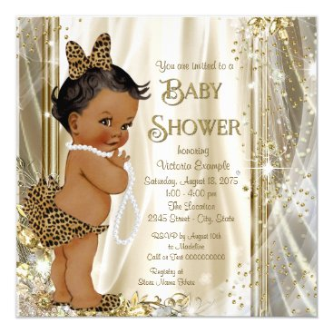 Toddler & Baby themed Cute Leopard Girly Ethnic Baby Girl Shower Card