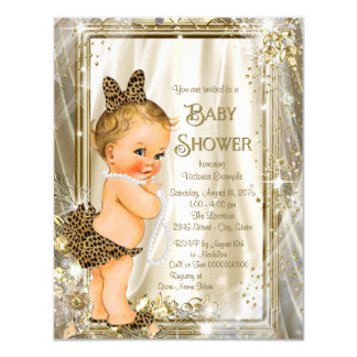 Cute Leopard Pearl Baby Girl Shower Card