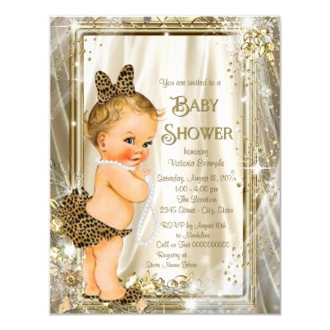 Toddler & Baby themed Cute Leopard Pearl Baby Girl Shower Card