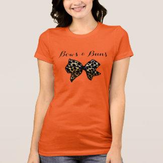 Cute Leopard Print Buns & Bows Hair Bow Bun T-Shirt