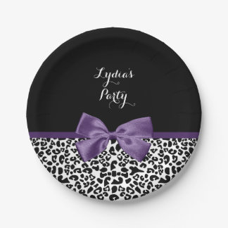 Cute Leopard Print Pretty Purple Bow With Name 7 Inch Paper Plate
