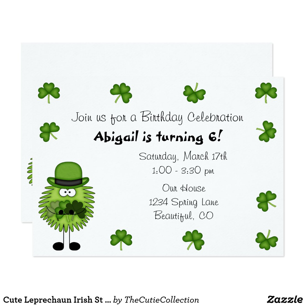 Cute Leprechaun Irish St Patrick's Day Birthday Invitation