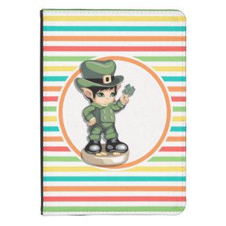 Cute Leprechaun on Bright Rainbow Stripes Kindle Cover