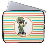 Cute Leprechaun on Bright Rainbow Stripes Laptop Sleeves