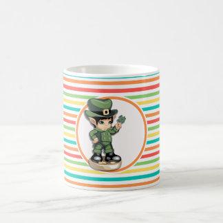 Cute Leprechaun on Bright Rainbow Stripes Coffee Mugs