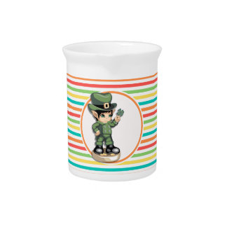 Cute Leprechaun on Bright Rainbow Stripes Beverage Pitchers