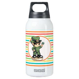 Cute Leprechaun on Bright Rainbow Stripes 10 Oz Insulated SIGG Thermos Water Bottle