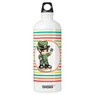 Cute Leprechaun on Bright Rainbow Stripes SIGG Traveler 1.0L Water Bottle