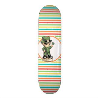 Cute Leprechaun on Bright Rainbow Stripes Skateboard