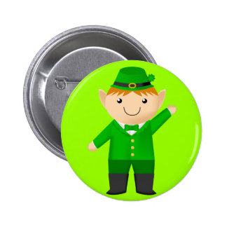 Cute Leprechaun Pinback Button