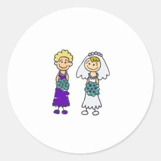 Cute Lesbian Brides Classic Round Sticker