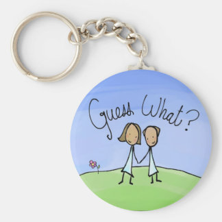 Cute Lesbian Couple Guess What Keychain