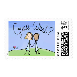 Cute Lesbian Couple Guess What Postage