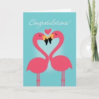 Cute Lesbian Flamingo Wedding Congratulations Card