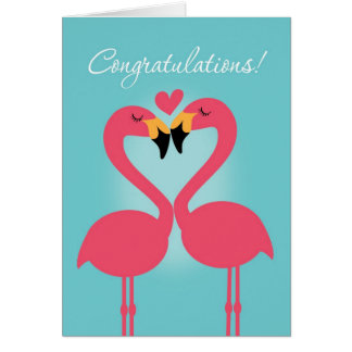 Cute Lesbian Flamingo Wedding Congratulations Card