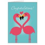 Cute Lesbian Flamingo Wedding Congratulations Greeting Card