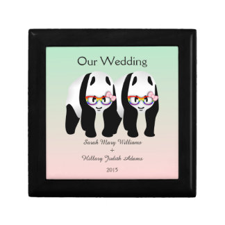 Cute Lesbian Panda Bears Wedding Keepsake Gift Boxes