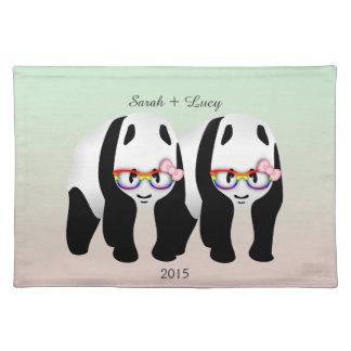 Cute Lesbian Pandas Bear Wedding Cloth Place Mat