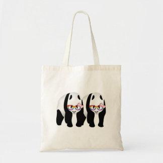 Cute Lesbian Pandas Rainbow Wearing Glasses Tote Bag