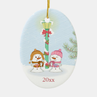 Cute let it snow snowmen Christmas holiday photo Ornaments