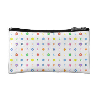 Cute  Letter C and Eight Color Flower Makeup Bags