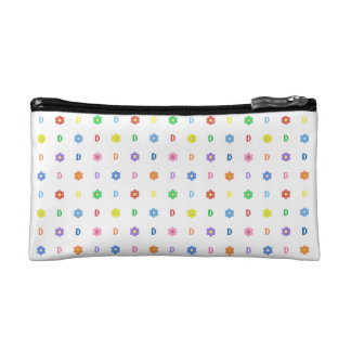 Cute Letter D and Eight Color Flower Makeup Bag