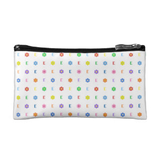 Cute Letter E and Eight Color Flower Cosmetic Bags