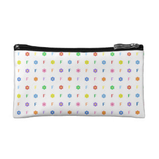 Cute Letter F and Eight Color Flower Makeup Bags