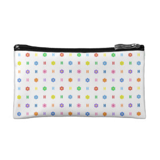 Cute Letter H and Eight Color Flower Makeup Bag