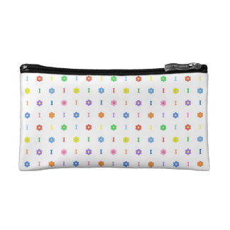Cute Letter I and Eight Color Flower Makeup Bag