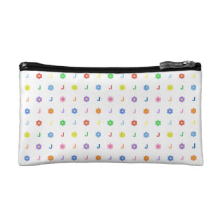 Cute Letter J and Eight Color Flower Cosmetic Bag