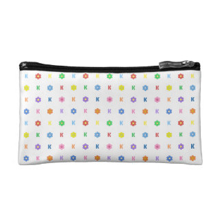Cute Letter K and Eight Color Flower Cosmetic Bags