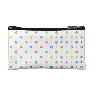 Cute Letter L and Eight Color Flower Cosmetic Bags
