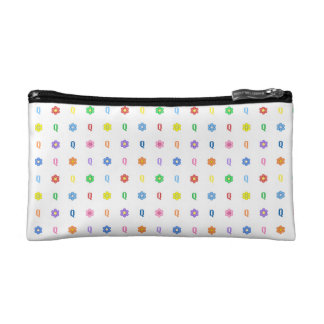 Cute Letter Q and Eight Color Flower Cosmetic Bag