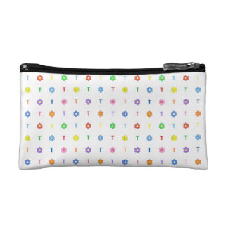 Cute Letter T and Eight Color Flower Bag Cosmetic Bag