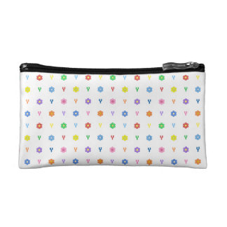 Cute Letter Y and Eight Color Flower Bag Cosmetic Bag