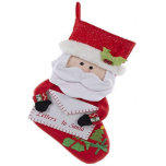 """Cute Letters To Santa Felt Christmas Stocking<br><div class=""""desc"""">The details on this felt stocking are amazing. From the bells on Santa's hat, to the knit cuffs on his sleeves, this Santa stocking will be a cherished addition to any holiday decor. The stocking measures 21 inches long from the tip of the cuff to the toe. . . plenty...</div>"""