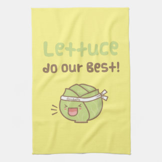 Cute Lettuce Do Our Best Vegetable Pun Humor Hand Towel