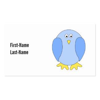 Cute Light Blue Bird Cartoon. Business Card