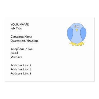 Cute Light Blue Bird Cartoon. Large Business Card