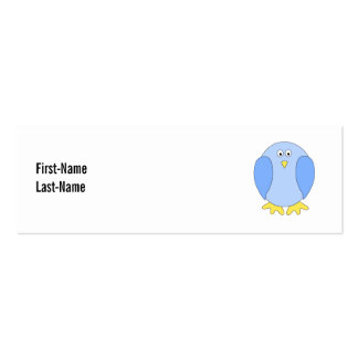 Cute Light Blue Bird Cartoon. Mini Business Card
