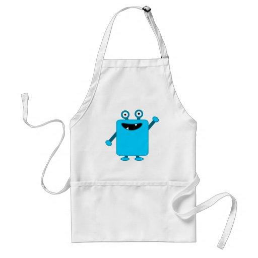 Cute Light Blue Cartoon Monster Adult Apron
