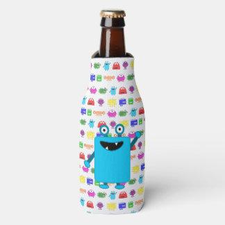 Cute Light Blue Cartoon Monster Bottle Cooler