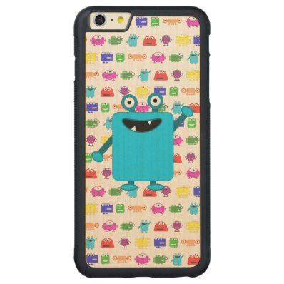 Cute Light Blue Cartoon Monster Carved® Maple iPhone 6 Plus Bumper