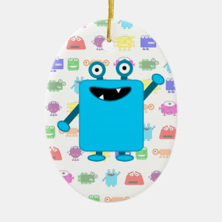 Cute Light Blue Cartoon Monster Ceramic Ornament