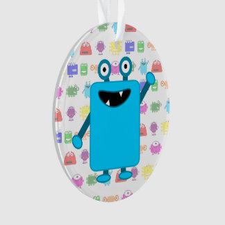 Cute Light Blue Cartoon Monster Ornament