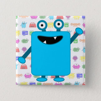 Cute Light Blue Cartoon Monster Pinback Button