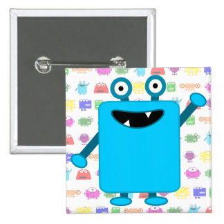Cute Light Blue Cartoon Monster Pinback Button