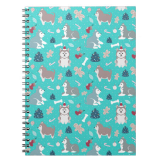 Cute Light Blue Christmas Husky Dog Notebook